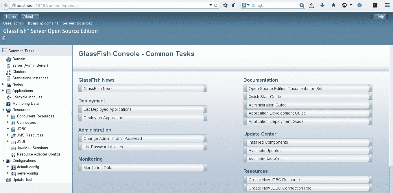 Administration web glassfish
