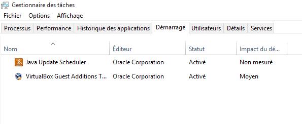 Logiciels Windows au démarrage