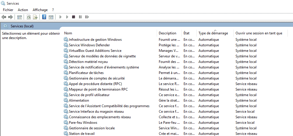 Services Windows au démarrage
