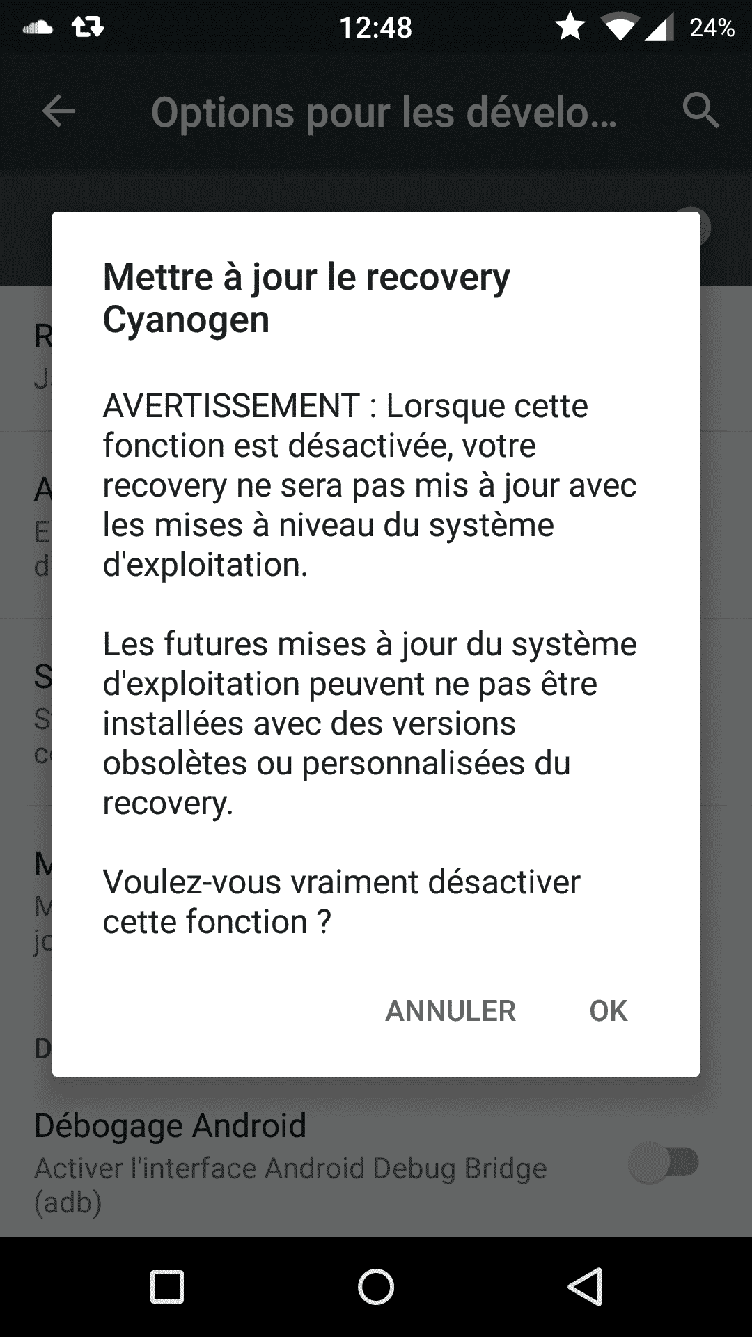 Désactiver Recovery CyanogenOS