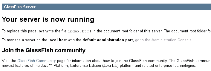 Glassfish default page