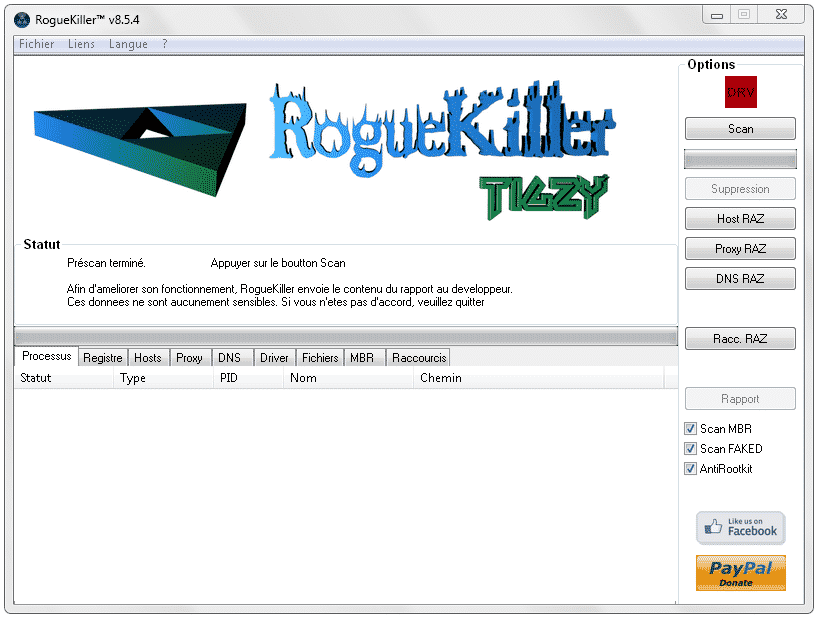 RogueKiller Interface