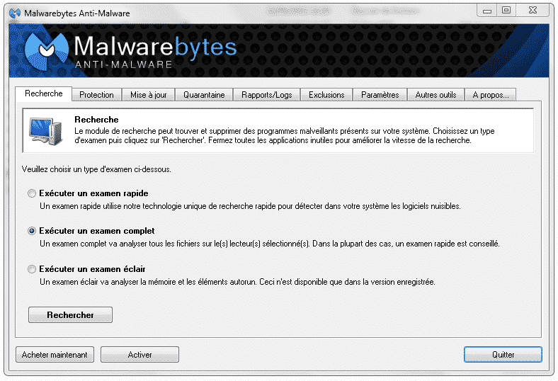 Interface Malwarebytes anti-malware