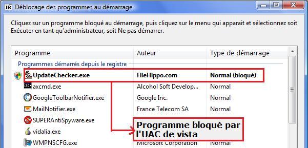 FileHippo bloqué par l'UAC