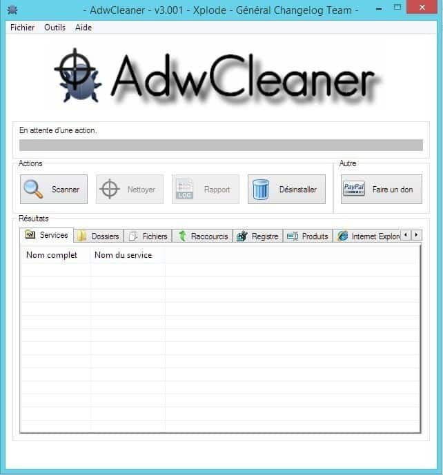 AdwCleaner interface