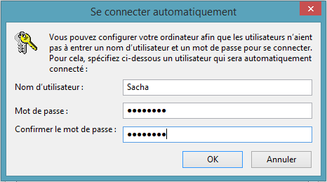 Connexion automatique Windows 8