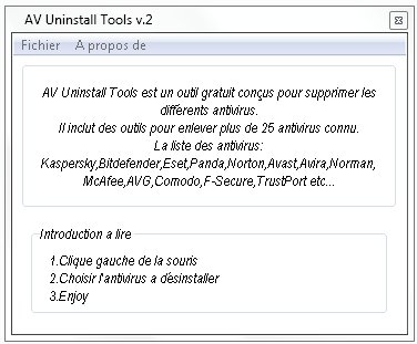 Av Uninstall Tools V2 menu principal