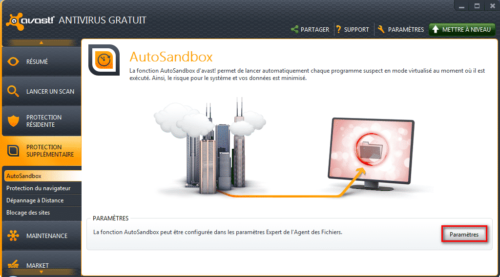 Menu autosandbox Avast!