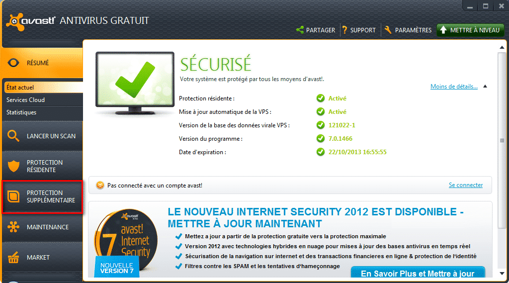 Protection supplémentaires menu Avast!