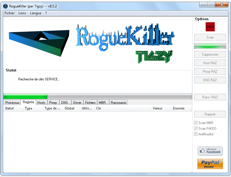 RogueKiller mode scan GUI