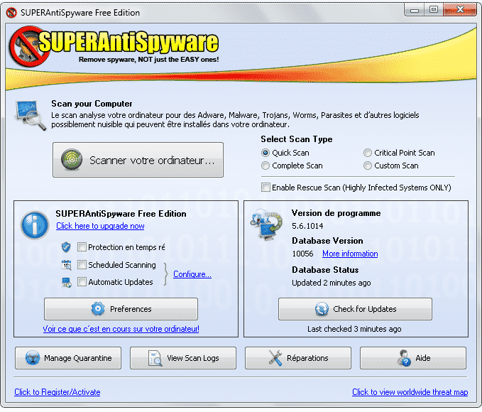 Menu principal superantispyware