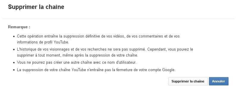 Confirmer la suppression de la chaine Youtube
