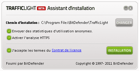 Bitdefender traffic light installation