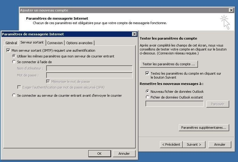 Activer l'authentification smtp Outlook