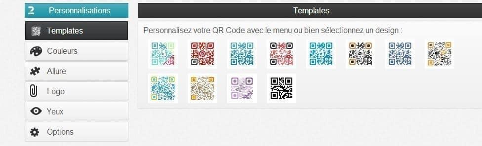 Choix de personnalisation du QR Code
