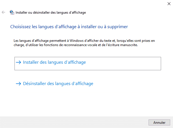 LPKSetup pour changer la langue de Windows