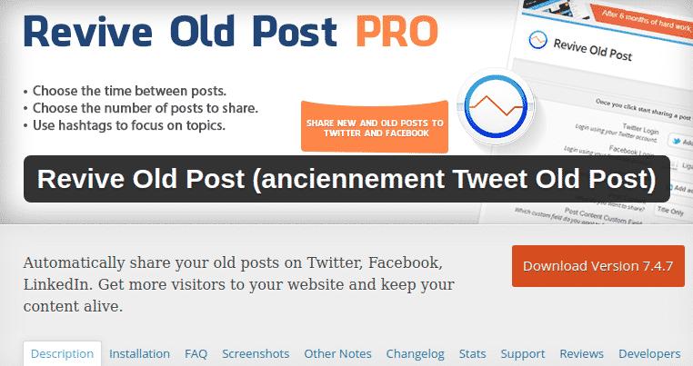 Poster les anciens articles sur les réseaux sociaux
