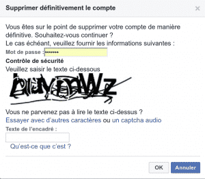 Confirmer la suppression de son compte Facebook