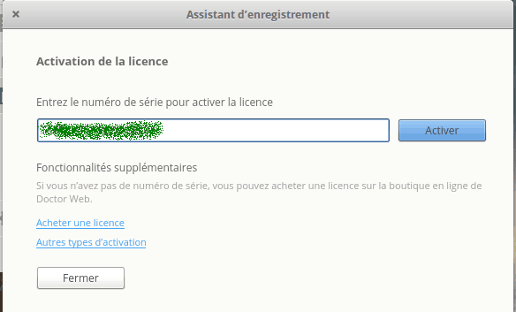 Activation de la licence Dr.Web