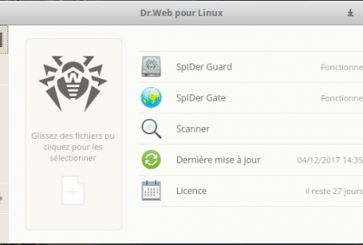 Interface Dr.Web Antivirus pour Linux