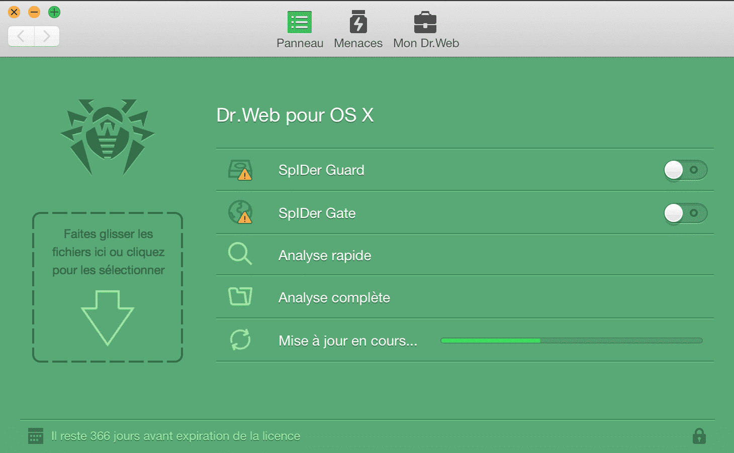 Interface Dr.Web Security Space pour Mac