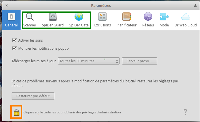 Interface de configuration