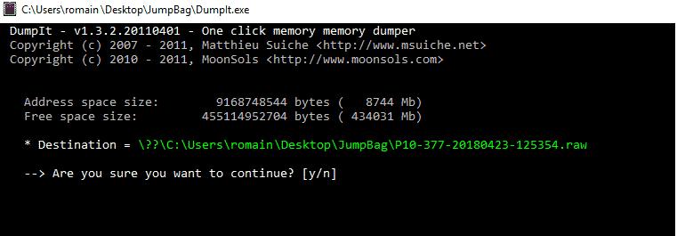 Logiciel pour faire un dump mémoire