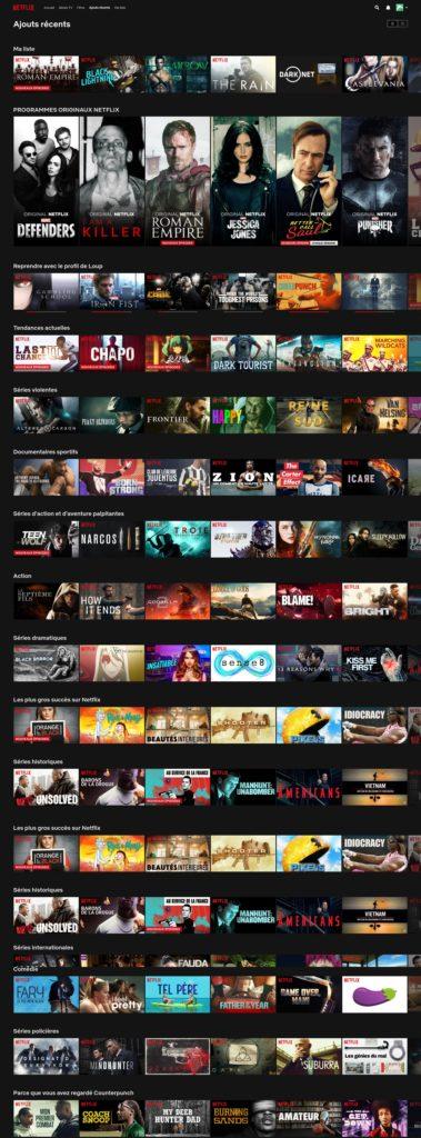 Capture d'écran des ajouts récents par Netflix