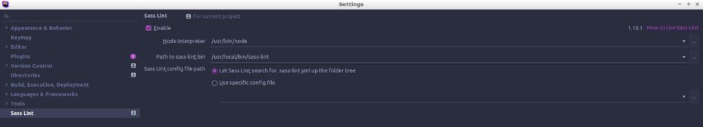 PHPStorm configuration SASS Lint